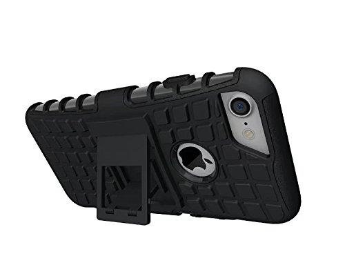 YHUISEN iPhone 7 case, Reifenmuster Dual Layer Rüstung Shock Absorbing Schutzhülle mit Ständer für iPhone 7 ( Color : Purple ) Black