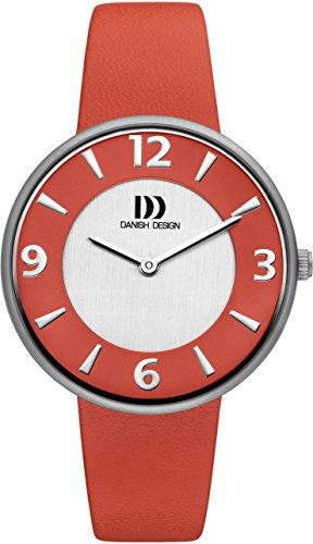Danish Design Women's Quartz Watch with Red Dial Analogue Display and Red Leather Strap DZ120198