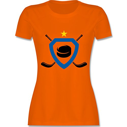 Eishockey - Puck Eishockeyschläger Stern - tailliertes Premium T-Shirt mit Rundhalsausschnitt für Damen Orange