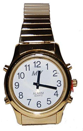 sprechende analoge unisex Armbanduhr Blindenuhr Zug-Armband Komplettdatum 38mm goldfarben HGM