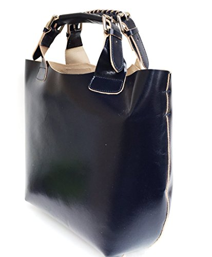 SUPERFLYBAGS Borsa Shopper a Mano o a Spalla in Vera Pelle Liscia e Lucida modello Barbara 2 in 1 made in Italy blu scuro