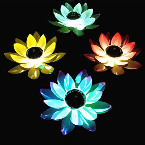 Uonlytech led galleggiante a energia solare, decorazione galleggiante, fiori di loto artificiale, in schiuma, fiori di loto galleggianti, per laghetto e piscina, colore alè