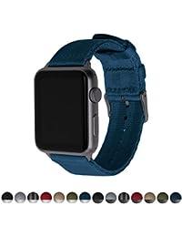 d692c854f1d8 Archer Watch Straps   Ceinture de Sécurité Bracelets de Remplacement en  Nylon pour Apple Watch, Homme et Femme   Bleu Marine Gris…