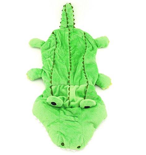smalllee _ Lucky _ store Pet Klein Hund Katze Kleidung Warm Fleece Krokodil Kostüm Halloween Kleid bis grün