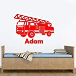 Rubybloom Designs Personalised Fire Engine Emergency Vehicle Boys Name Childrens Wall Sticker