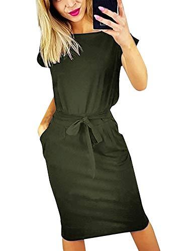 Abend Kleid Party Kleid (Yidarton Sommerkleid Damen Knielang Festlich Strand Rockabilly Kleid Kurzarm Abend Party Minikleid (Large, Grün))