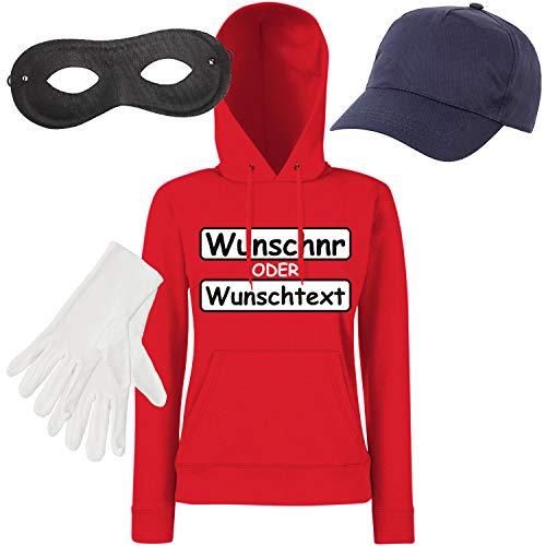 Shirt-Panda Damen Hoodie Panzerknacker Kostüm + Cap + Maske + Handschuhe Verkleidung Karneval SET15 Hoodie/WN/Cap/Maske/Handschuhe L