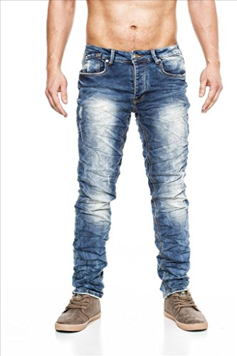 MEGASTYL Herren Hose Stone-Washed Vintage Jeans Indigo-Blau Slim-Fit 5-Pocket Jogg-Denim, GRÖSSE:W32 / L34 (Jean 5-pocket-easy Fit)