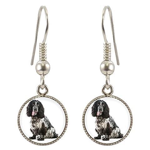 Cocker Spaniel Dog Image Design Silver Plated Dangle Earrings in Gift Box