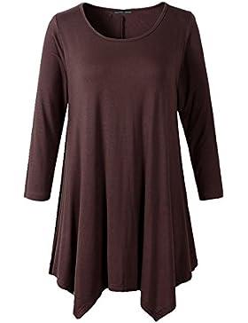 Ume - Camiseta de manga larga - Asimétrico - Básico - Cuello redondo - para mujer