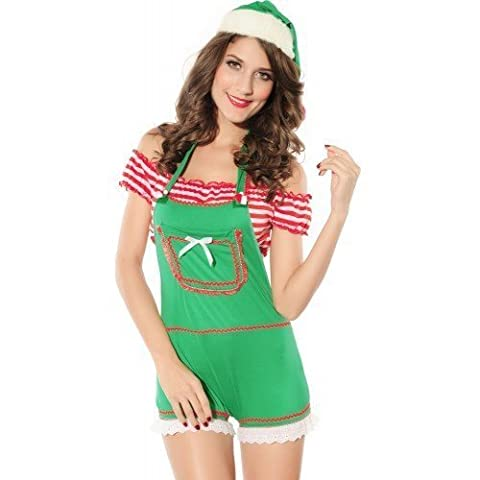Ladies 3 Piece Miss Sexy Santa Enticing Elf Playsuit Crop Top & Hat Christmas Fancy Dress Costume Outfit UK 8-12