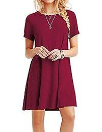 YOUCHAN Vestidos Mujer de Camiseta Suelto Casual Cuello Redondo Ocasional Sólida Mini Vestido