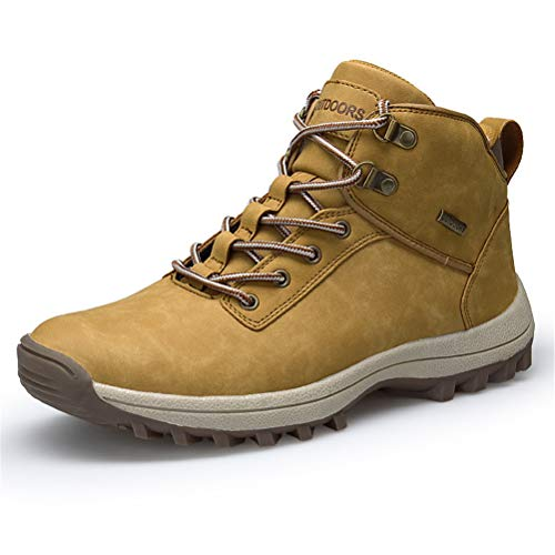 AZOOKEN Homme Femme Chaussures Trekking Randonnée Bottes de Neige Hiver Imperméable Outdoor Boots Fourrure Cuir Imperméable Sneakers(572-1-Brown46)