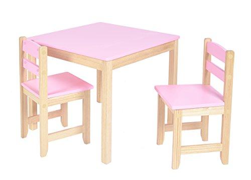 ts-ideen Tavolo 2 Sedie per Bambini Set Legno lilla viola