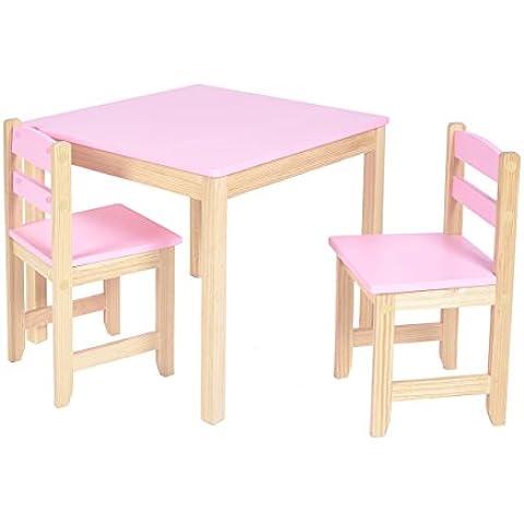 ts-ideen Juego de mesa y dos sillas para niños lila