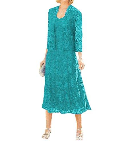 O.D.W Damen Spitze Formales Brautkleider Brautmutter Kleider mit Jacke Vintage Brautkleider(Tuerkis,...
