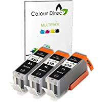 3 X Black Colour Direct Compatible Ink Cartridges Replacement For Canon PGI 550XL Black - Works With Canon Pixma MG5450 MG5550 MG5650 MG6350 MG6450 MG6600 MG6650 MX925 MX725 MG7150 MG7550 iP7250 iP7200 iP8750 iX6850 Printers