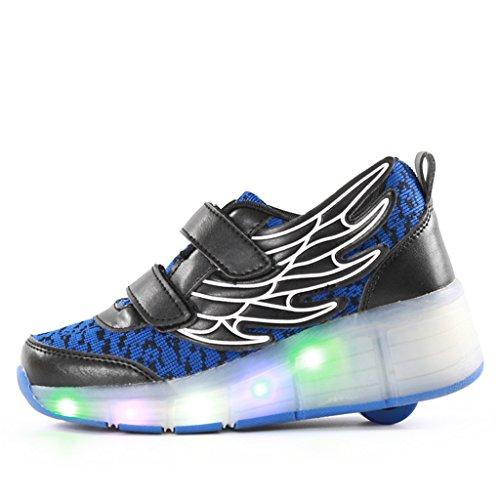 SGoodshoes LED Ailes Chaussures Enfants à Roulettes Baskets Patins Garçon Sneakers 7 Couleurs Lumineuses Clignotante Chaussures Fille Garçon Bleu