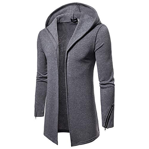 Sannysis Herren Slim Fit Pullover Langarm Mantel Mens Hooded Solide Zipper Trenchcoat Jacke Strickjacke Outwear Bluse Tops -