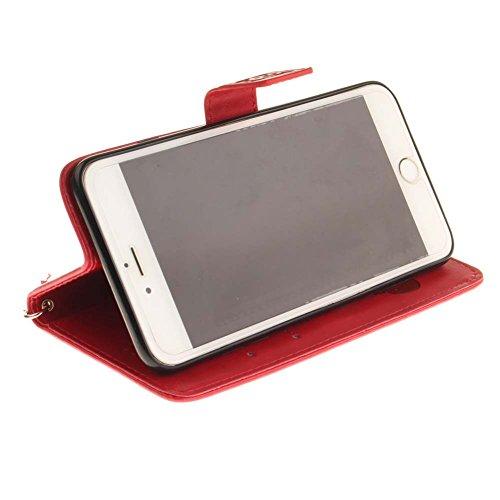 iPhone 6S Plus Coque, Aeeque® iPhone 6S Plus Joli Éléphant Rose Chaud Désign Bookstyle Étui en Cuir Case à Rabat Magnétique Fermeture Coque de Protection avec Porte Carte et Stand pour iPhone 6 Plus/6 Rouge