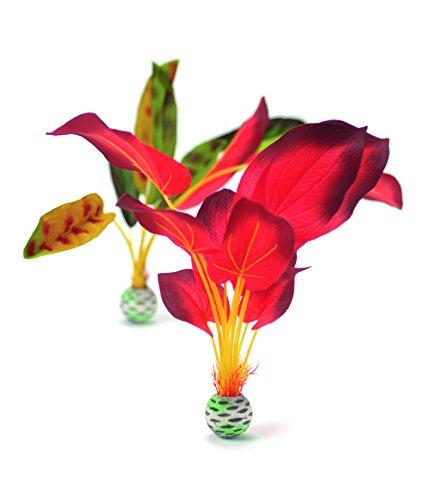 OASE biOrb Seidenpflanzen Set L - 2-teilige Aquariums-Dekoration, naturnahe Kunst-Pflanzen, Zubehör fürs Aquarium-Becken, in Grün und Rot