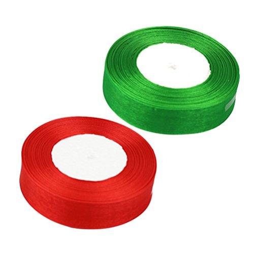 ROSENICE 2 Rolle 50 Yard Geschenkband Chiffonband Dekobastband für DIY Handwerk Partydeko (grün und rot) 50 Yard Organza Satin