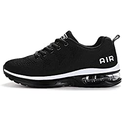 Fexkean Hommes Femme Basket Mode Chaussures de Sports Course Sneakers Fitness Gym athletique Multisports Outdoor Casual, Blanc Noir, 40 EU