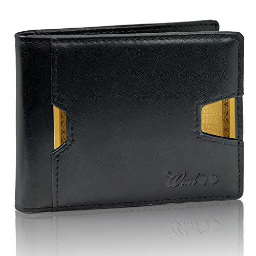 Portafoglio Uomo Piccolo Vera Pelle Intelligente Protezione RFID-NFC - 2A Generazione - Artigianale 9 Tasche Porta Tessere Clip Fermasoldi Per Banconote e Portamonete con Zip Migliorato.