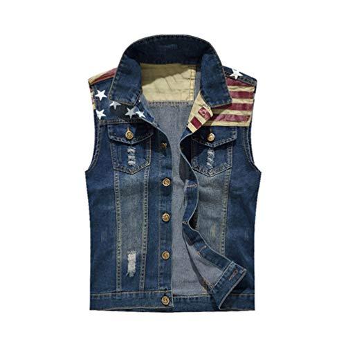 este-Loch Gewaschene Jeans-Weste-Männer Plus Größen-Denim-Weste-männliche ärmellose Jacken Style 1 XXXL ()