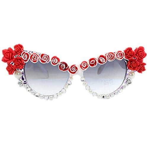 Ppy778 Sonnenbrille-Dame Retro Cat Eyes Handrhinestone-Blumen-Sommer-Küsten-Gläser
