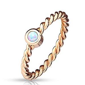 Bungsa® Rosegold Opal Ring Edelstahl Damen 49-57 (Rosé Rotgold Stein Damen Fingerring Partnerringe Verlobungsringe Damenring Edelstahlring Chirurgenstahl)