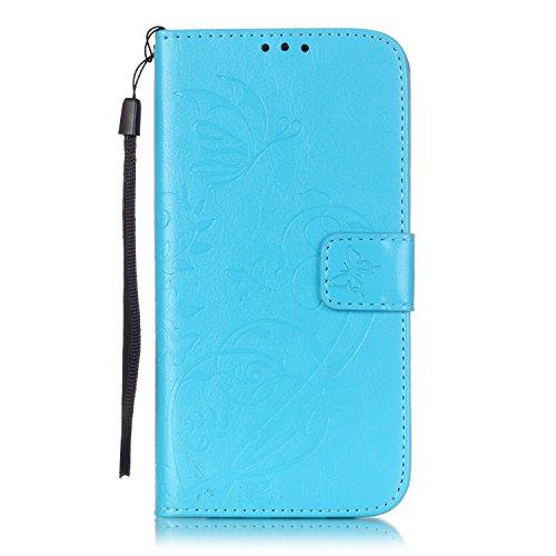 Prägen Blumen-Case, Magnetverschluss Synthetische PU-Leder-Kasten-Abdeckung mit hängenden Seil und Wallet-Funktion für SAMSUNG S7 EDGE ( Color : Pink , Size : SAMSUNG S7EDGE ) Blue