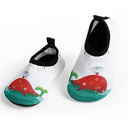 JIASUQI Kids Slip-on Wasserschuhe für Pool Strand Quick-Dry Wasser Schuhe für Jungen Grils, Weißer Delphin 0-6 Monate (Herstellergröße : 15/16)