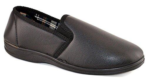 Pour Homme En Simili Cuir Rembourré sur semelle en caoutchouc antidérapant Chambre Pantoufles Chaussures Taille 7–14 Noir - noir