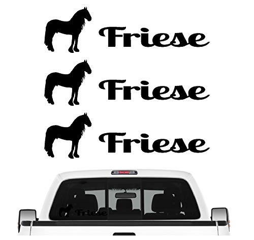 Siviwonder Friese Friesenpferd Aufkleber 3er Set Pferdeaufkleber Pferd reiten Auto Folie Farbe Schwarz, Größe 10cm