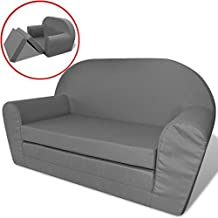 vidaXL Kindersofa mit Bettfunktion Sofa Sessel Schlafsofa Lounge Kinderzimmer Grau