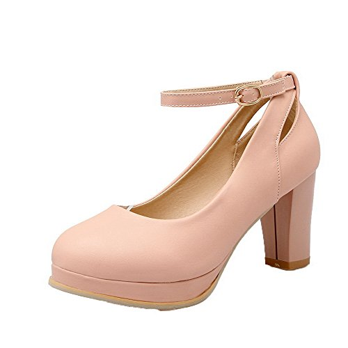 AgooLar Damen Rein PU Hoher Absatz Schließen Zehe Schnalle Pumps Schuhe, Pink, 39