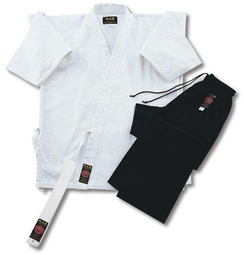 Playwell Karate-Anzug Jacke Weiß/Hose Schwarz