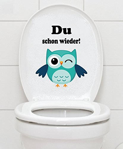 (WC Aufkleber - Du schon wieder!- Eule Toilettendeckel A047)