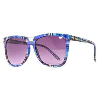 Retro Light Blue Tartan Print Oversized Wayfarer Sunglasses