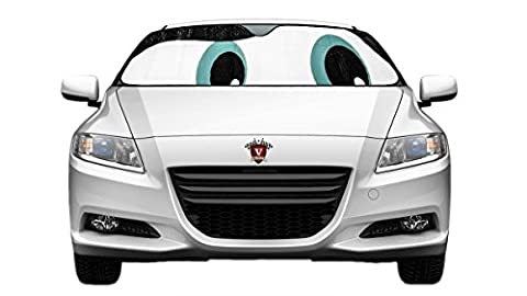 VELOCITY MOTORSPORTS Slanted BLUE EYES Reflective Double sided SUNSHADE for Car Truck SUV Front Windshield Window Reversible Sun Shade Universal 24x58 inches