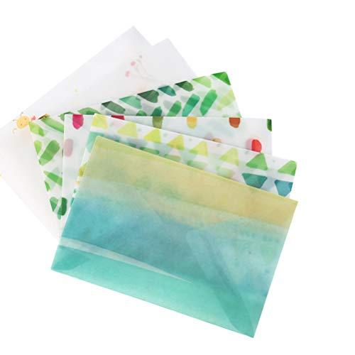 TOYANDONA 12 STÜCKE Gemüse Pergament Transluzente Dank Briefpapier Umschläge Blume Matt Polnischen Umschläge für Einladung Postkarte Rabatt Gutschein Brief (6 Muster)
