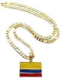 Nouveau collier couleur or à pendentif du drapeau de la Colombie, chaîne Figaro l.5 mm L.61 cm XSP368G