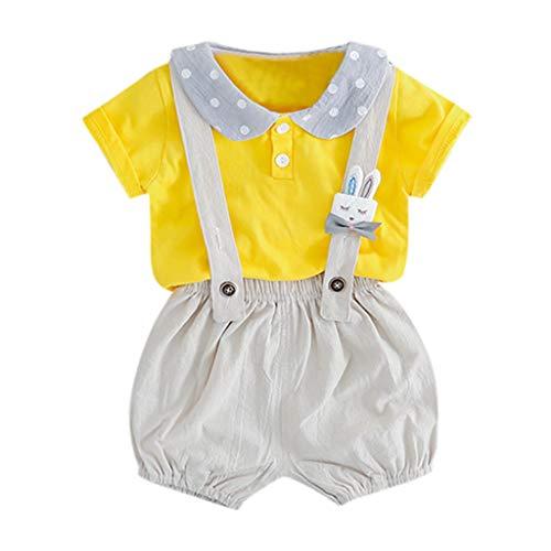 Alwayswin Baby Kinder Jungen Hosenträger Shirt Overall Cartoon Bär Tasche Casual Outfits Bogen Tops Overall Hosen Jeansshorts Baumwolle Top Babykleidung Sommer Frisch Cool Overall