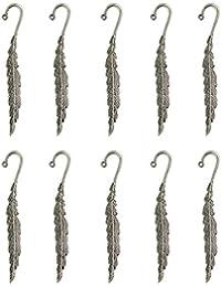 10 Stück Tibetanische Silberne Sicken Feder Lesezeichen Mit Schleife Für DIY Herstellung