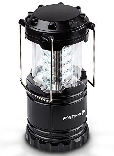 Fosmon LED Campinglampe/Portable LED Außenleuchte/Camping Laterne/Camping Beleuchtung/Nachtlicht[KLAPPBAR][Batteriebetrieb|WASSERDICHT] Wandern/Notfall/Angeln/Gartenarbeit - Schwarz