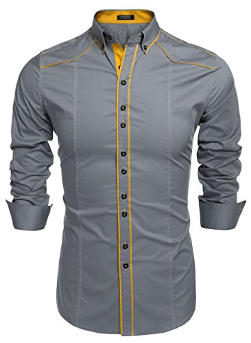 Burlady Herren Hemden Shirt Langarm Slim Fit Casual Business Kentkragen Hemd Grau