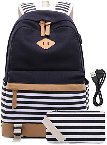 e1c7d9f37df36 Canvas Backpack School Bags set for Teens Girls School Backpack with USB  Charging Port