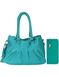 Bellina® Premium synthetic Hobo Aqua Green Shoulder handbag and clutch combo for women