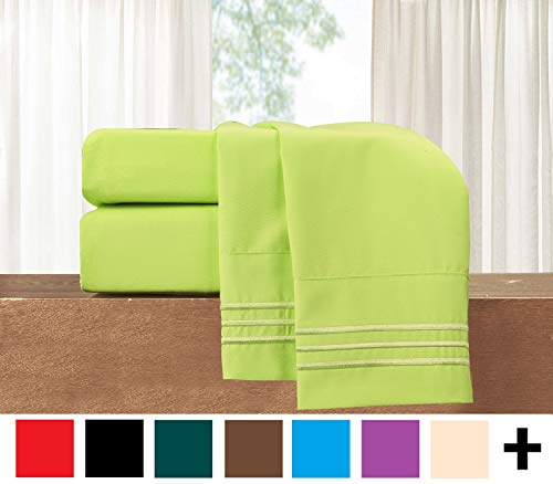 Elegant Comfort  TM 3-Piece Sheet Set-Luxury Bedding 1500 Thread Count Egyptian Quality Wrinkle and Fade Resistant Hypoallergenic Cool & Breathable, Easy Elastic Fitted, Twin XL, Neon Green